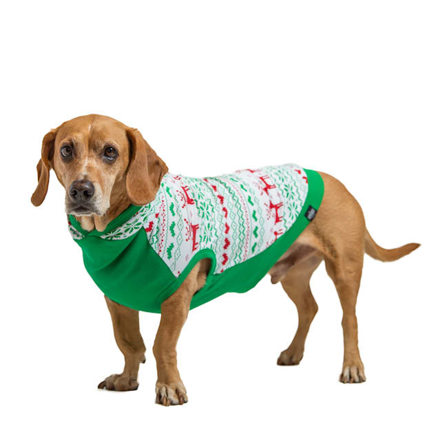 Long Dog Clothing Co. The Holly Jolly Holiday Dog Hoodie, X-Small - Carousel image #1