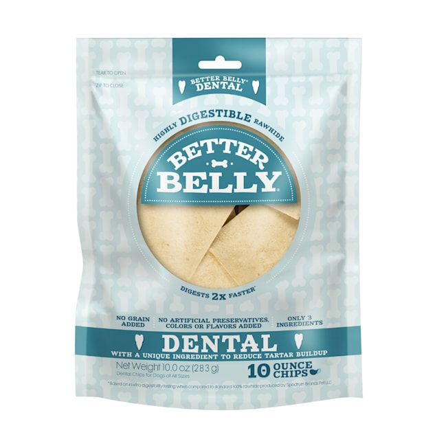 Better Belly Highly Digestable Dental Rawhide Chips for Dogs, 10 oz. - Carousel image #1
