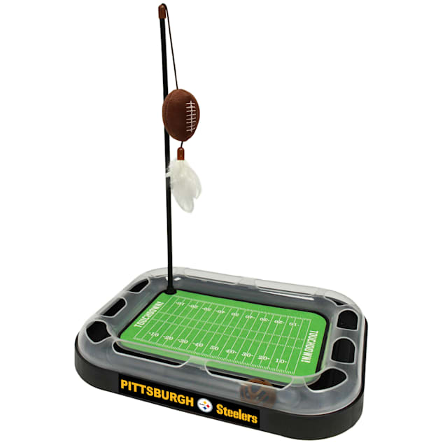 """Pets First Pittsburgh Steelers Football Field Cat Scratcher, 14"""" L X 11"""" W X 2"""" H - Carousel image #1"""