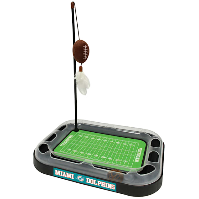 """Pets First Miami Dolphins Football Field Cat Scratcher, 14"""" L X 11"""" W X 2"""" H - Carousel image #1"""