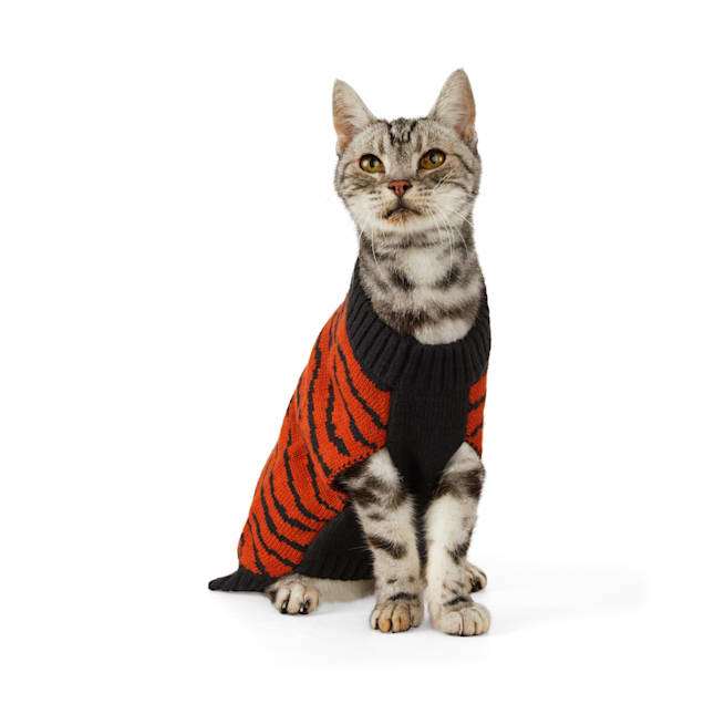YOULY The Party Animal Tiger-Print Cat Sweater, Small/Medium - Carousel image #1