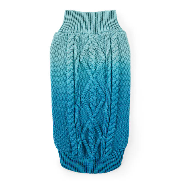 YOULY The Sophisticate Multicolor Teal Ombre Cat Sweater, Small/Medium - Carousel image #1