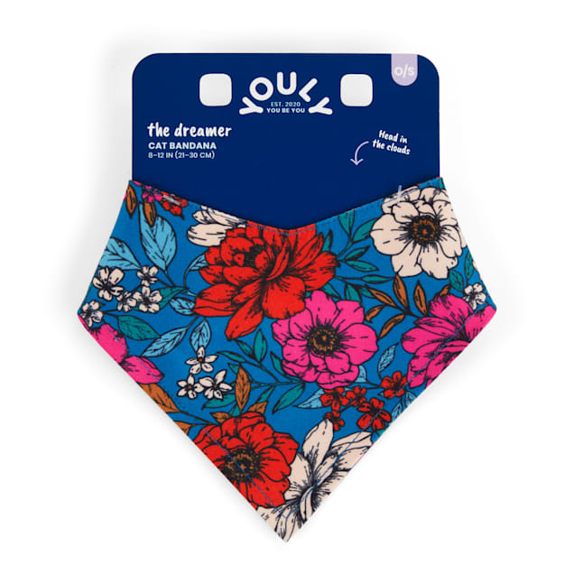 YOULY The Dreamer Baby Blue & Floral Reversible Cat Bandana - Carousel image #1