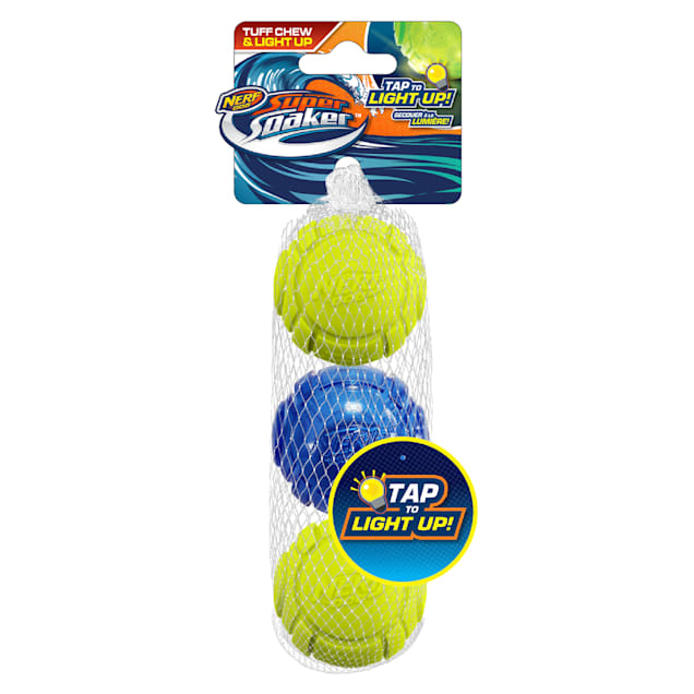 Nerf Tranlsucent TPR Lightning LED and Sonic Foam Ball Dog Toy, X-Small, Pack of 3 - Carousel image #1