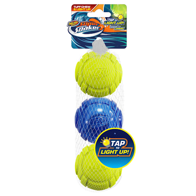 Nerf Tranlsucent TPR Lightning LED Ball and Sonic Foam Ball Dog Toy, X-Small, Pack of 3 - Carousel image #1