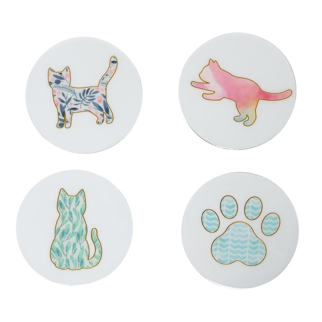 Pearhead Pet Cat-Themed Cork Drink Coasters, Pack of 4 - Carousel image #1