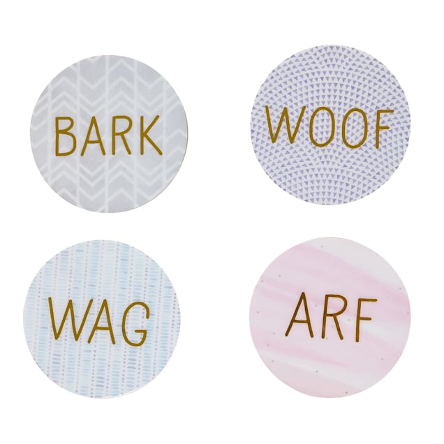 Pearhead Pet Dog-Themed Cork Drink Coasters, Pack of 4 - Carousel image #1