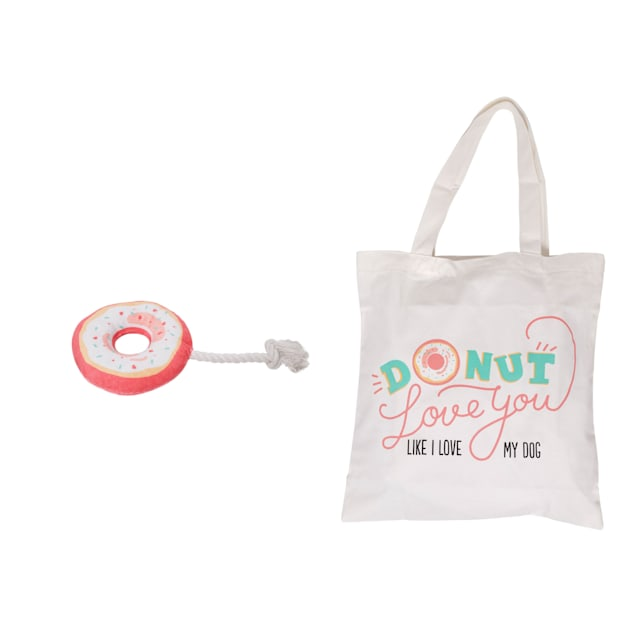 Pearhead Pet Tote Bag and Donut Dog Toy Set - Carousel image #1