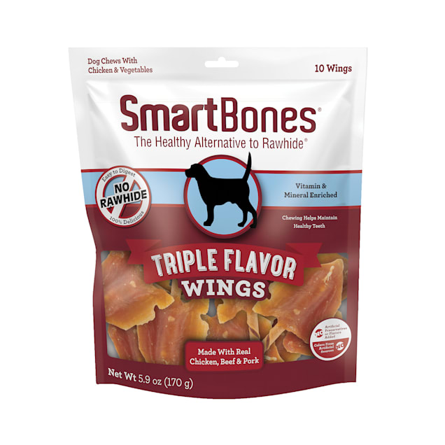 SmartBones Triple Flavor Wings Made with Real Chicken, Beef & Pork No-Rawhide Dog Chews, 5.9 oz., Count of 10 - Carousel image #1