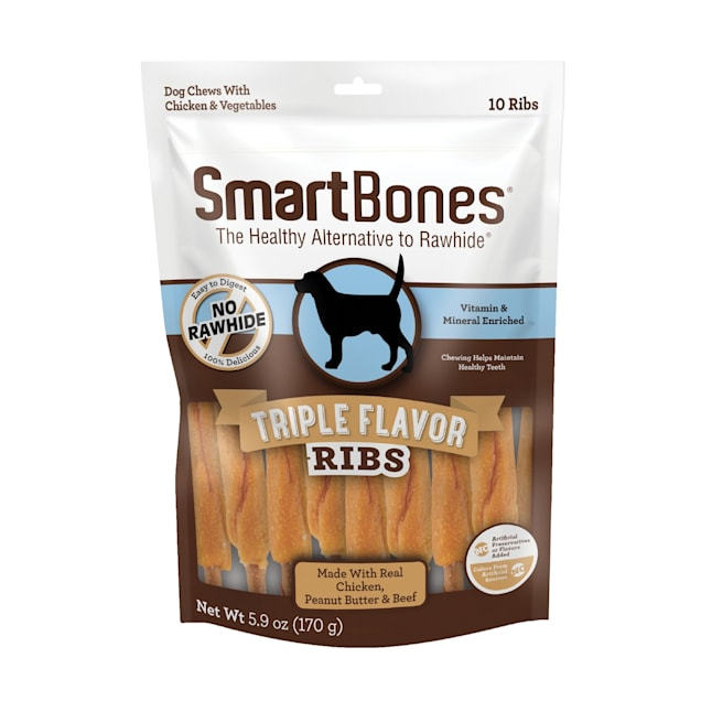 SmartBones Triple Flavor Ribs Made with Real Chicken, Peanut Butter & Beef No-Rawhide Dog Chews, 5.9 oz., Count of 10 - Carousel image #1