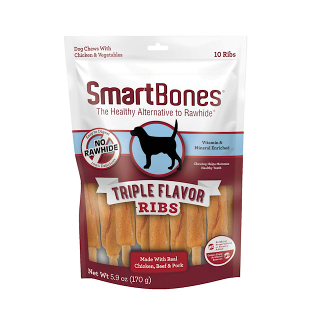 SmartBones Triple Flavor Ribs Made with Real Chicken, Beef & Pork No-Rawhide Dog Chews, 5.9 oz., Count of 10 - Carousel image #1