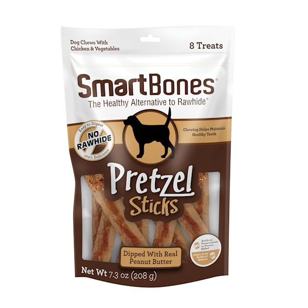 SmartBones Pretzel Sticks Dipped With Real Peanut Butter Dog Chews, 7.3 oz., Count of 8 - Carousel image #1