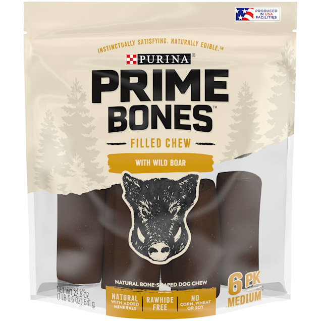 Purina Prime Bones Filled Chew With Wild Boar Natural Bone-Shaped for Medium Dogs, 22.6 oz., Count of 6 - Carousel image #1