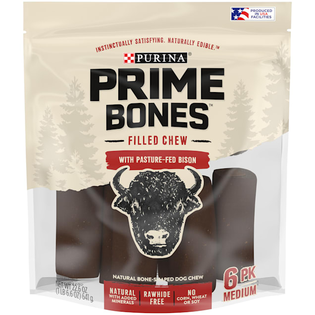 Purina Prime Bones Filled Chew With Pasture-Fed Bison Natural Bone-Shaped for Medium Dogs, 22.6 oz., Count of 6 - Carousel image #1