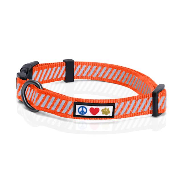 Pawtitas Orange Reflective Traffic Dog Collar, X-Small - Carousel image #1
