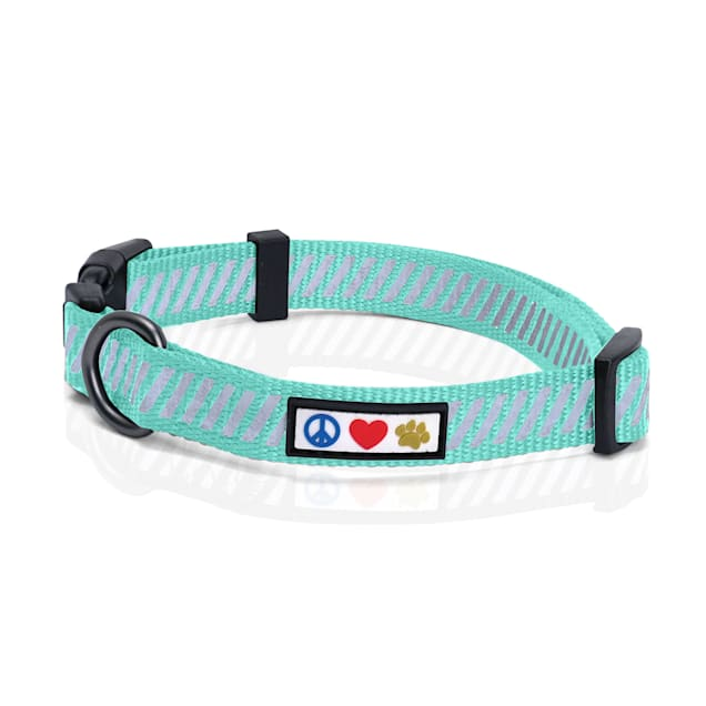 Pawtitas Teal Reflective Traffic Dog Collar, X-Small - Carousel image #1