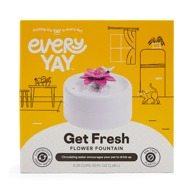 EveryYay Get Fresh Floral Pet Fountain, 12.5 Cups - Carousel image #1