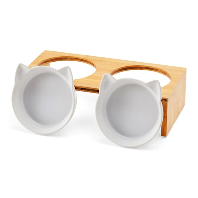 EveryYay Better Together Elevated Bamboo Diner for Cats, 0.75 Cups - Carousel image #1