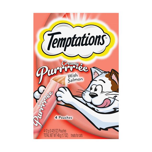 Temptations Creamy Purrrr-ee with Salmon Cat Treats, 1.7 oz. - Carousel image #1
