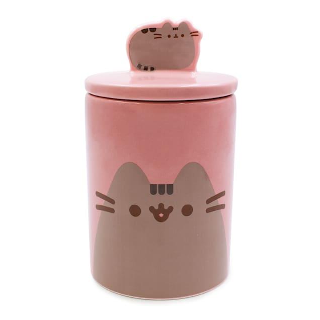 Pusheen Mauve Happy Face Treat Jar for Cats, 24 oz. - Carousel image #1