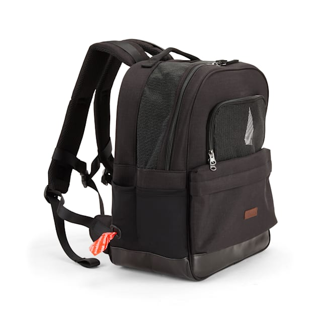 Reddy Black Cotton Canvas Pet Carrier Backpack Made With Recycled Materials, Small - Carousel image #1