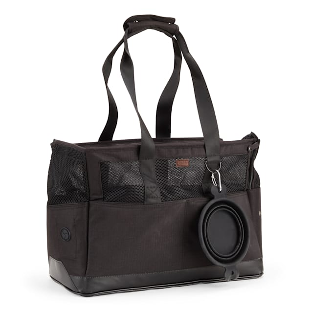 Reddy Black Canvas Dog Carrier Tote Made With Recycled Materials, Small - Carousel image #1