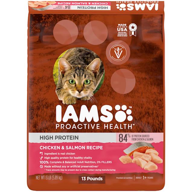 Iams ProActive Health High Protein Chicken & Salmon Recipe Adult Dry Cat Food, 13 lbs. - Carousel image #1
