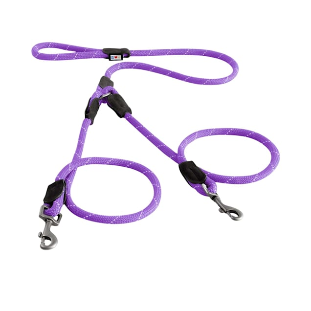 Pawtitas Purple Reflective Double Dog Leash, 6 ft. - Carousel image #1