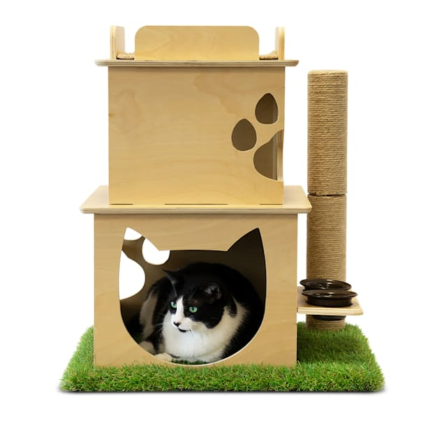 """On2Pets Indoor Two-Story Wooden Cat Loft with Scratching Post & Feeder Station, 19"""" L X 23"""" W X 27"""" H - Carousel image #1"""