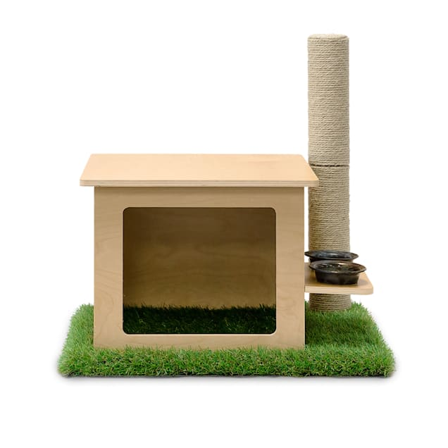 """On2Pets Modern Indoor Wooden Cat House with Scratching Post & Feeder Station, 19"""" L X 23"""" W X 13"""" H - Carousel image #1"""