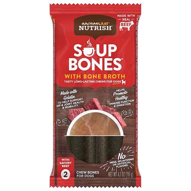 Rachael Ray Nutrish Soup Bones with Bone Broth Long-Lasting Savory Beef Recipe Small/Medium Dog Chews, 4.1 oz., Count of 2 - Carousel image #1