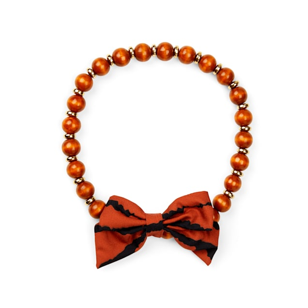 YOULY The Party Animal Bow-Embellished Wood Bead Dog Necklace, X-Small/Small - Carousel image #1