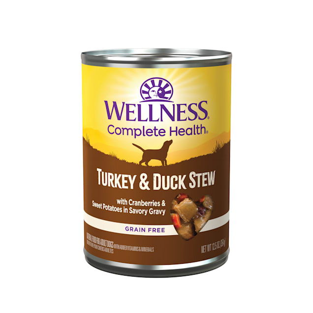 Wellness Turkey & Duck Stew with Sweet Potatoes & Cranberries Canned Dog Food, 12.5 oz., Case of 12 - Carousel image #1