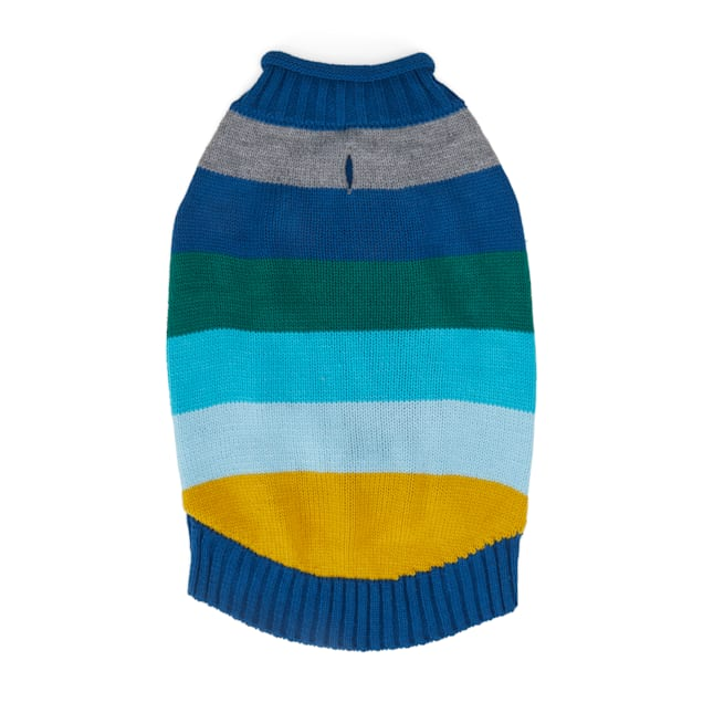 YOULY The Artist Blue & Multicolor Striped Dog Sweater, XX-Small - Carousel image #1