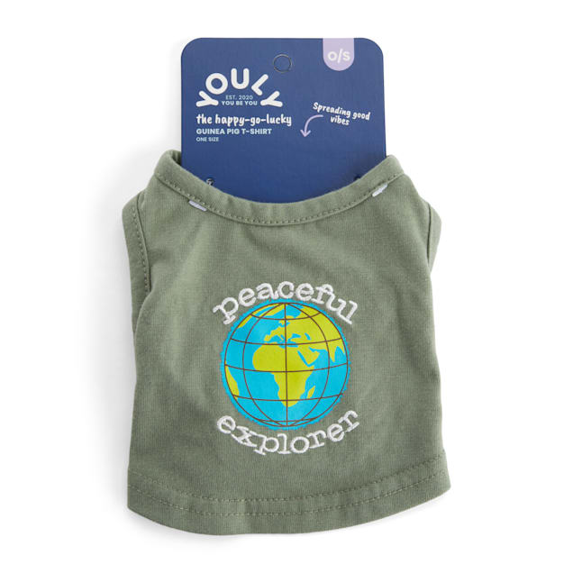 YOULY Happy-Go-Lucky Olive Peaceful Explorer Embroidered Small Animal T-Shirt - Carousel image #1