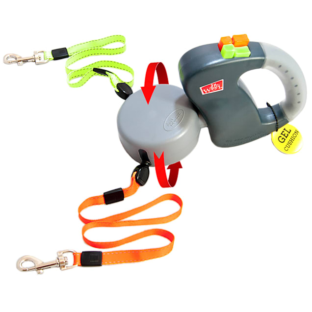 Wigzi Dual Doggie Gel Handle Retractable Dog Leash, Small/Medium - Carousel image #1