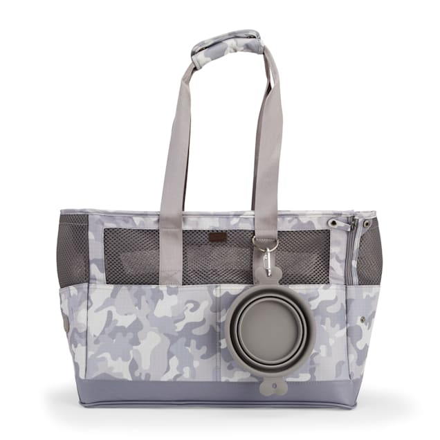 Reddy Grey Camo Canvas Dog Carrier Tote, Small - Carousel image #1