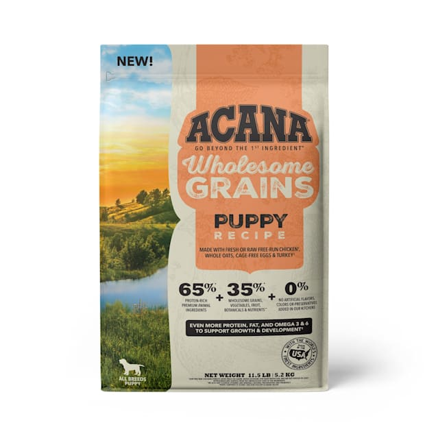 ACANA Wholesome Grains Puppy Recipe with Real Chicken, Eggs and Turkey Dry Food, 11.5 lbs. - Carousel image #1