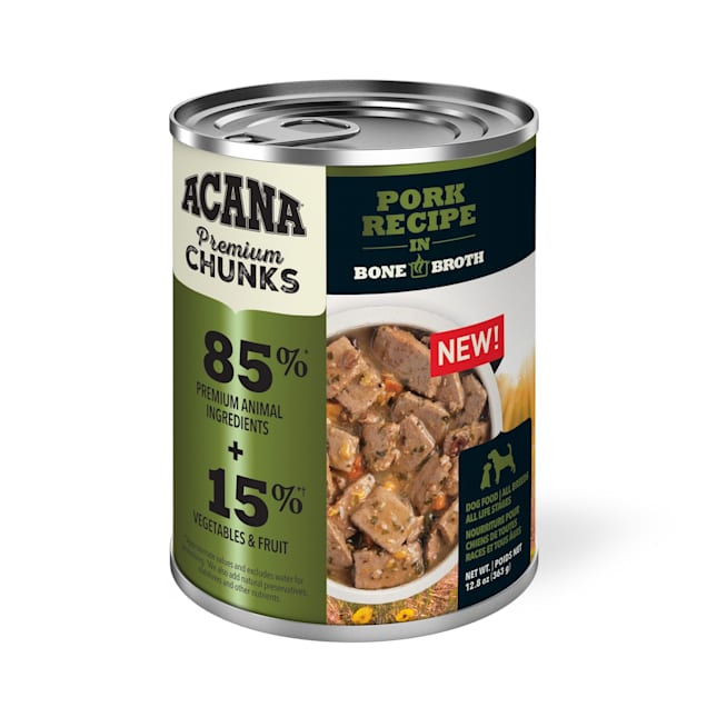 ACANA Grain-Free Premium Chunks Pork Recipe in Bone Broth Wet Dog Food, 12.8 oz., Case of 12 - Carousel image #1