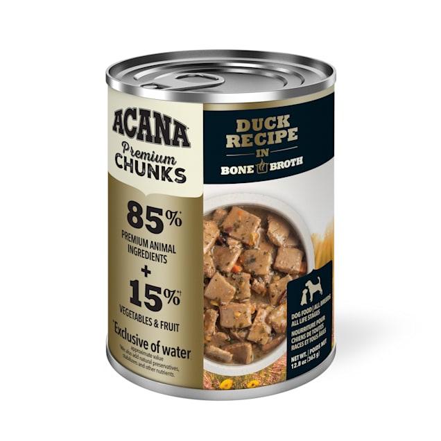 ACANA Grain-Free Premium Chunks Duck Recipe in Bone Broth Wet Dog Food, 12.8 oz., Case of 12 - Carousel image #1