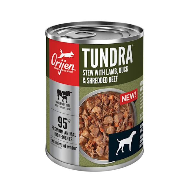 ORIJEN Grain-Free Real Meat Shreds Tundra Stew Premium Wet Dog Food, 12.8 oz., Case of 12 - Carousel image #1