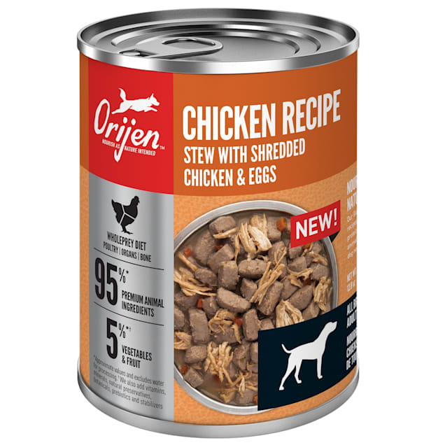 ORIJEN Grain-Free Real Meat Shreds Chicken Recipe Stew Premium Wet Dog Food, 12.8 oz., Case of 12 - Carousel image #1