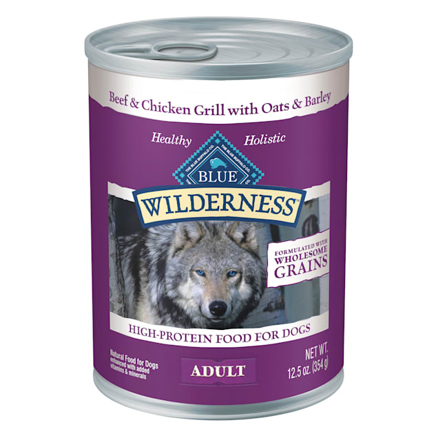 Blue Buffalo Blue Wilderness Natural Wholesome Grains Beef & Chicken Grill Adult Wet Dog Food, 12.5 oz., Case of 12 - Carousel image #1