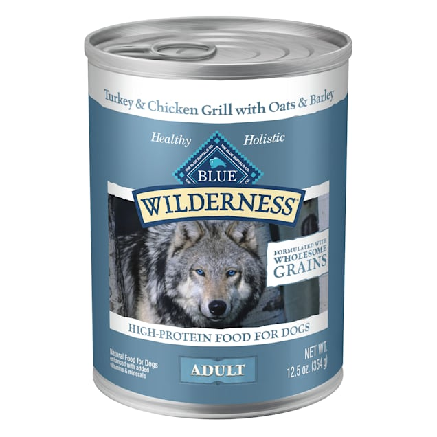 Blue Buffalo Blue Wilderness Natural Wholesome Grains Turkey & Chicken Grill Adult Wet Dog Food, 12.5 oz., Case of 12 - Carousel image #1