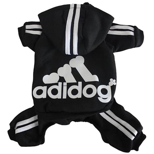 Fresh Pawz Black Adidog Logo Dog Jumpsuit, X-Large - Carousel image #1