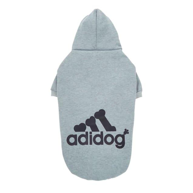Fresh Pawz Grey Adidog Logo Fleece Dog Hoodie, X-Small - Carousel image #1