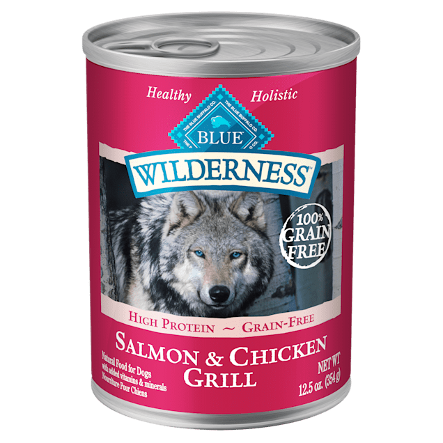 Blue Buffalo Blue Wilderness Salmon & Chicken Grill Wet Dog Food, 12.5 oz., Case of 12 - Carousel image #1