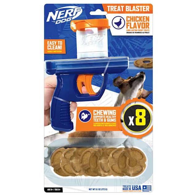 Nerf Chicken Flavored Treat Blaster Dog Toy, Medium - Carousel image #1