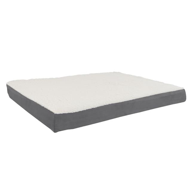 "Pet Pal Gray Memory Foam and Sherpa Dog Bed, 36"" L X 27"" W - Carousel image #1"
