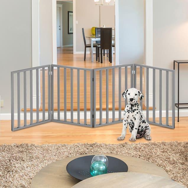 """Pet Adobe Gray Freestanding 4 Panel Pet Gate, 72"""" L X 1"""" W X 24"""" H - Carousel image #1"""